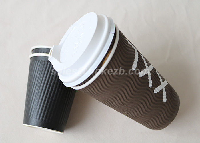 Custom Brown Ripple Wall Kraft Paper Coffee Cups For Coffee / Espresso