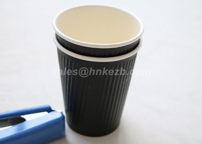 Disposable 8oz Ripple Paper Cups , Custom Takeaway Coffee Cups For Hot / Cold Baverage