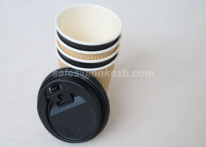 Custom Printed 9oz PLA Paper Cups , Corrugated Coffee Paper Cup For Hot Drinking