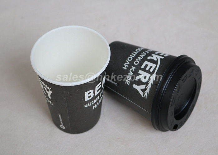 Black 8oz Vending Custom Paper Coffee Cups , Insulated Coffee Cups With Lids