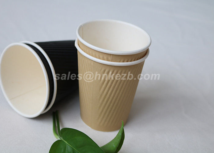 Hot Drink / Cold Drink Disposable Ripple Paper Cups With Lids Custom Logo Printed